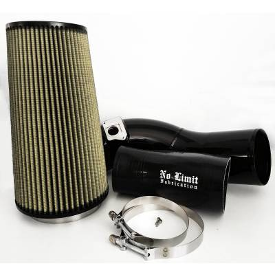 No Limit Fabrication  - 6.0 Cold Air Intake 03-07 Ford Super Duty Power Stroke Black PG7 Filter No Limit Fabrication