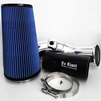 No Limit Fabrication  - 6.0 Cold Air Intake 03-07 Ford Super Duty Power Stroke Polished Oiled Filter No Limit Fabrication