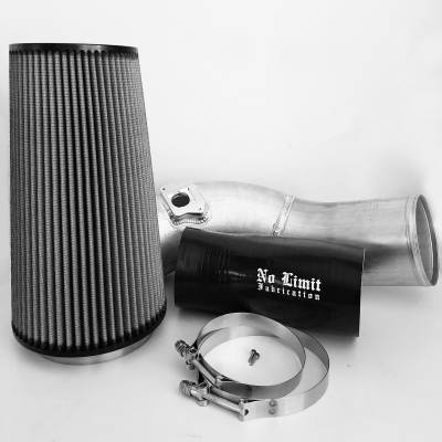 No Limit Fabrication  - 6.0 Cold Air Intake 03-07 Ford Super Duty Power Stroke Raw Dry Filter No Limit Fabrication