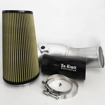 No Limit Fabrication  - 6.0 Cold Air Intake 03-07 Ford Super Duty Power Stroke Raw PG7 Filter No Limit Fabrication