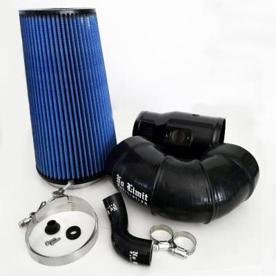 No Limit Fabrication  - 6.4 Cold Air Intake 08-10 Ford Super Duty Power Stroke Black Oiled Filter for Mod Turbo 5 Inch Inlet No Limit Fabrication