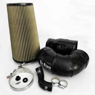 Air Intakes & Parts - Cold Air Intake - No Limit Fabrication  - 6.4 Cold Air Intake 08-10 Ford Super Duty Power Stroke Black PG7 Filter for Mod Turbo 5.5 Inch Inlet No Limit Fabrication