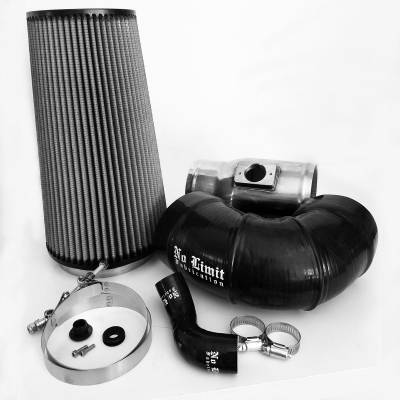 No Limit Fabrication  - 6.4 Cold Air Intake 08-10 Ford Super Duty Power Stroke Polished Dry Filter for Mod Turbo 5 Inch Inlet No Limit Fabrication