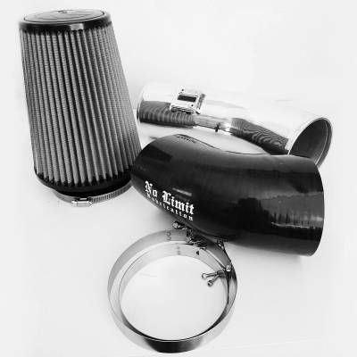 No Limit Fabrication  - 6.7 Cold Air Intake 11-16 Ford Super Duty Power Stroke Polished Dry Filter Stage 1 No Limit Fabrication