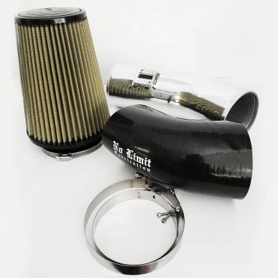 No Limit Fabrication  - 6.7 Cold Air Intake 11-16 Ford Super Duty Power Stroke Polished PG7 Filter Stage 1 No Limit Fabrication