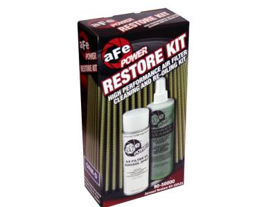 Air Intakes & Parts - Cleaning Kits - AFE - Air Filter Restore Kit: 6.5 oz Gold Oil & 12 oz Power Cleaner (Aerosol Spray Oil)